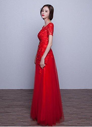 Beauty-Emily Spitze-Applique-Rückenfrei kurze Hülsen-Brautjunfer-Kleider Rot