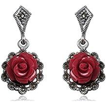 EYS JEWELRY® Pendientes para señora rosa flor 28 x 15 mm Coral Marcasita plata de ley 925 rojo verde con la caja Pendientes mujer