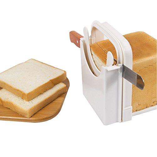 Brotschneidemaschine, Brotschneider Cutter mit 5 Scheiben Dicke, Faltbare Laib Slicer Scheiben Führungswerkzeug Toast Schneiden Guide Küchenwerkzeug(Weiß) (Brot Mit Messer Guide)