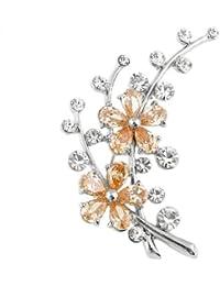 Glamorousky Schillernden Blumenbrosche Mit Silber Austrian Element Kristall Und Orange Cz (3311)