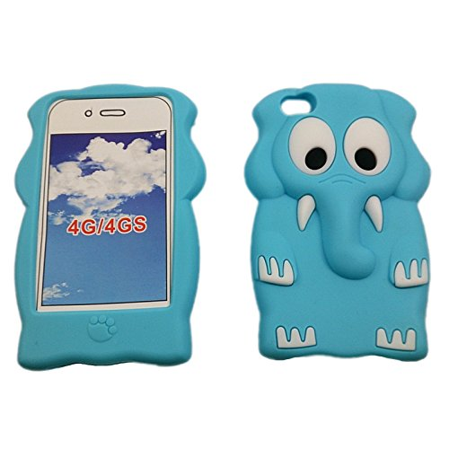 handy-point 3D ELEPHANT Gummihülle Silikonhülle Hülle aus Silikon Gummi Schutzhülle Schale für iPhone 4, 4G, 4S, grau Elephant Hülle in Blau (Hell)