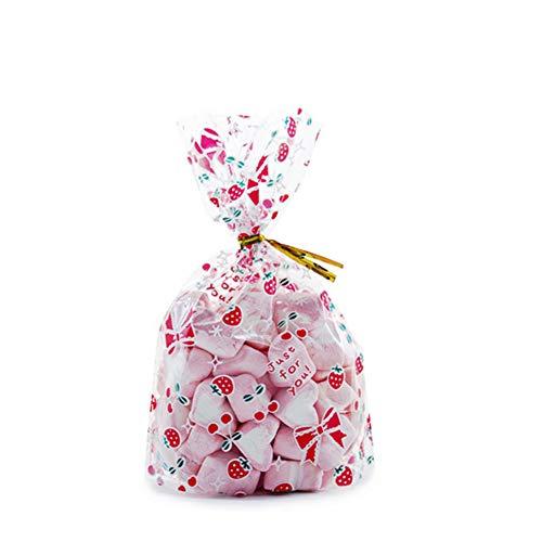 50x Chytaii Sac à Biscuits Gâteaux Noël Sachet Pochette pour Emballage Bonbons Popcorns Conservation Alimentaire Etanche Transparent en Plastique Décoration de Cadeaux Anniversaire Mariage (L)