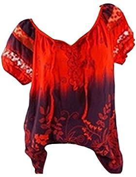 Juleya Camisa Mujer Verano Blusas Estampadas Florales de Manga Corta con Cordón Top Sueltas con Hombros Descubiertos
