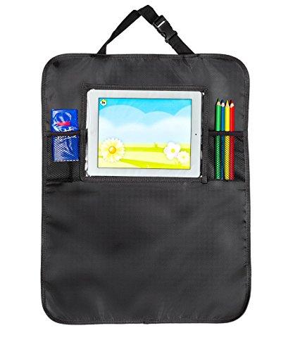 Extra robuster Rückenlehnenschutz / Sitzschoner / Organizer mit transparenter Tasche für das iPad / Tablet – Utensilientaschen für Kinder und Erwachsene zum Schutz von der Rückenlehne / dem Autositz