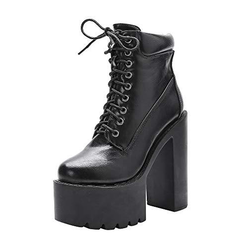 Clacce Schuhe Stiefel Damen Stiefeletten Freizeitschuhe Schnürstiefel Schnürstiefeletten Sneaker Frauen Reizvoller Absatz Schnüren Sich Oben Starke Plattformknie Aufladungs Aufladungs Schuh