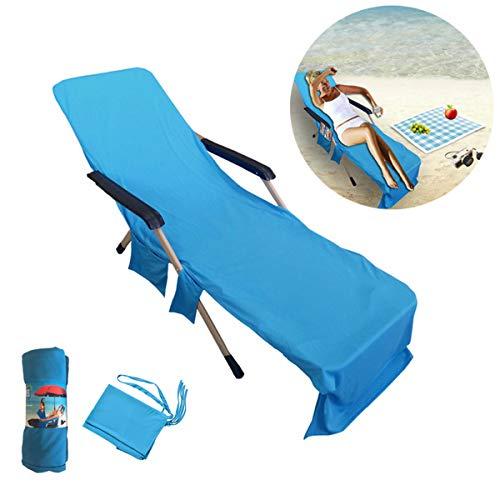 Mikrofaser Handtücher Kühlendes Handtuch Strandhandtuch Liegenbezug Strandtuch - Schnelltrocknend/Mehrere Taschen/ Leicht /Ultra Saugfähig, Ideal für Sporthandtuch, Reisehandtuch, Badetuch, 75*210CM