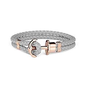 PAUL HEWITT Anker Armband Damen PHREP – Segeltau Armband Frauen, Leder Armband Damen (Grau) mit Anker Schmuck aus IP-Edelstahl (Rosegold)