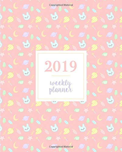 2019 Weekly Planner: Kawaii Bunny Leaf Popsicle Candy Moon Pink, Weekly and Monthly Standard Professional Calendar | 1 January - 31 December 2019 (Sprinkles Glitter Pink)