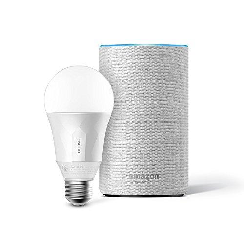 Das neue Amazon Echo (2. Generation), Sandstein Stoff inkl. TP-Link Smart LED E27 Glühbirne