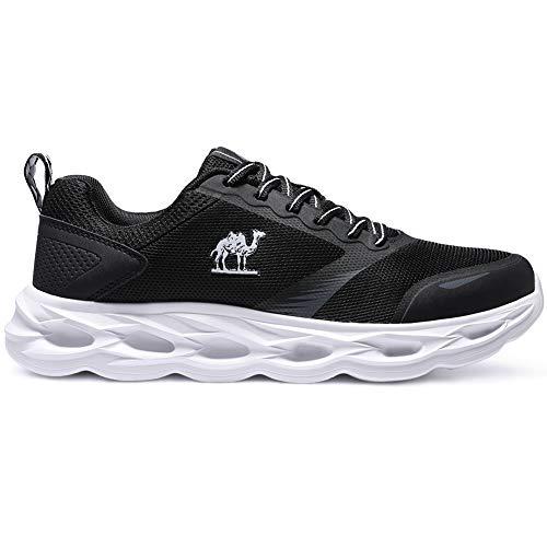 CAMEL CROWN Sportschuhe Herren Freizeit Mode Sneaker Laufschuhe Turnschuhe Leichte Bequeme Running für Männer Jungen Sport Gym Fitnessschuhe, Schwarz, 45 EU