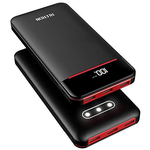RLERON Externer Akku 25000mAh Powerbank, Hohe Kapazität Power Bank mit 3 USB-Output...