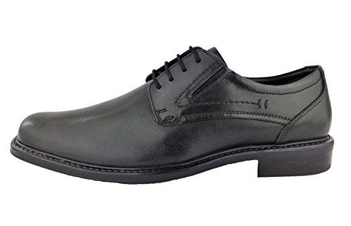 360 Leder Herren-Schuhe Schnürer Halb-Schuh Übergrößen Freizeit Business Peet (42, Schwarz)