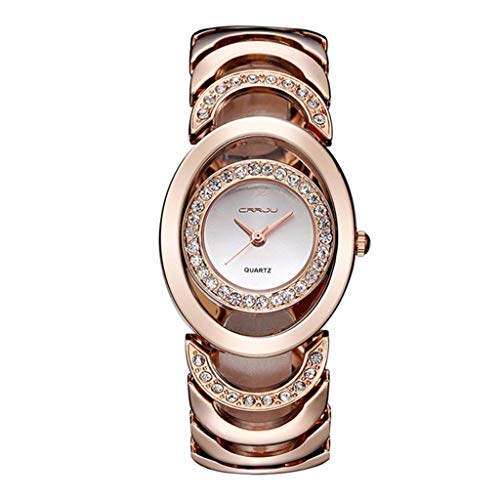 Design Ellipse-zifferblatt Damen Armbanduhren Chic Ladder Metal Band Wristwatch Frauen Elegant Diamant Watch Noble Rosegold Party Armreif Uhr für Lady ()