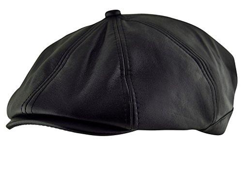 Itzu pour Homme Baker Boy Newsboy 8 Panneaux pièce Casquette Plate Chapeau 100% Simili Cuir Chasse Ivy en Noir