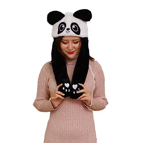 Neckip Glühender Plüschhut, Ziehen Sie Ihre Ohren und bewegen Sie Sich, Weihnachtsmütze, Hasenmütze, Panda-Mütze, DREI Beleuchtungsmodi mit schnellem Blinken, langsamem Blinken und Immer hellem Licht (Ziehen Sie Kostüm)