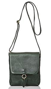 italienische Damen Umhängetasche München aus echtem Leder in dunkel grün, Made in Italy, Handtasche 19x20 cm