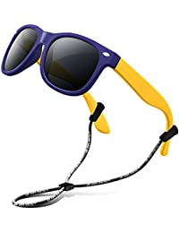 RIVBOS RBK104 Outdoor Lunettes de soleil Enfant Polarisées TR90 Protection  Monture en Caoutchouc Flexible Lunettes pour b0a65f5e32c2