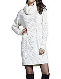 2c14006b908c Cheerlife Damen Langarm Strickkleid Rollkragen Pullover Stretch Knit Dress  Gestrickt Kleid Herbst Winter