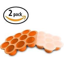 Vassoio congelatore per alimenti per bambini in silicone con coperchio di coperchio - Contenitori per immagazzinaggio di stampi riutilizzabili Alimenti per neonati domestici - Verdura, purè di frutta, latte al latte e cubi di ghiaccio - BPA Free & FDA Approved