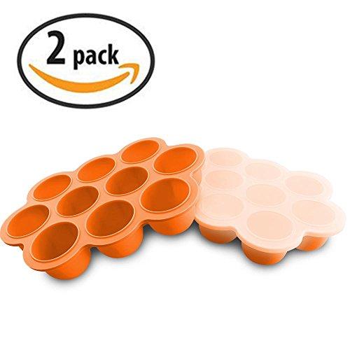 Baby Food Gefrierschrank Tray Mit Deckel - Wiederverwendbare Mold Storage Container Hausgemachte Baby Food - Gemüse, Obst Purees, Brust Milch und Eiswürfel - BPA Frei & FDA Zugelassen - Orange (Kinder Backen Satz)