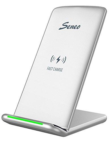 Qi Chargeur Sans Fil Rapide, Seneo Chargeur à Induction Intelligent Support de Charge pour Galaxy Note 8/S8/S8 Plus/S7/S7 Edge/S6, S6 Edge+,Galaxy Note 5 et iPhone 8/ 8 Plus, iPhone X-Argent