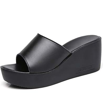Frau Sommer Dicke Sohlen Pantoffeln,Casual-Römischen Stil Weiche Hausschuhe-A Fußlänge=23.8CM(9.4Inch)