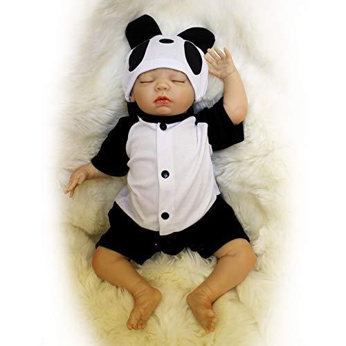 Nicery B148 - Muñeca de bebé de silicona de simulación suave de 38 a 42 cm, ideal para regalar a un amigo o un amigo con un juguete realista y un traje para Acción de Gracias, color negro