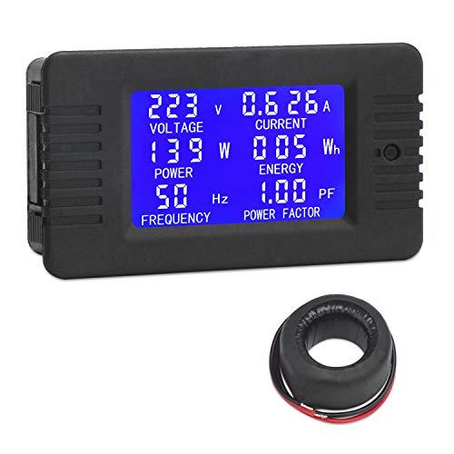 Droking Medidor Digital de AC, AC 80 ~ 260V 100A Voltímetro Amperímetro Vatímetro Multímetro, Voltaje de Prueba Amperaje Energía Energía Factor Todo en un medidor con Transformador de Corriente CT