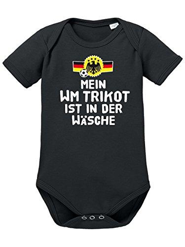 clothinx Baby Body Unisex Fußball Mein WM Trikot ist in der Wäsche Schwarz/Weiß Größe 86-92