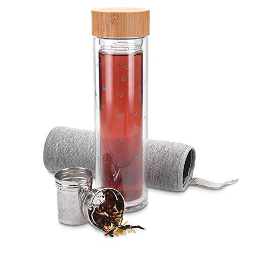 Navaris Teeflasche aus Glas mit Sieb - 500ml Tee Flasche Teekanne to go - Trinkflasche Bubbles Design - doppelwandig aus Borosilikatglas mit Hülle in Grau Design-teekanne