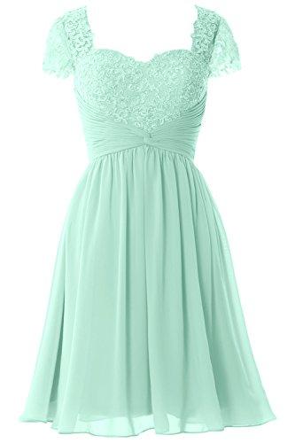 MACloth Women Cap Sleeve Cocktail Dress Short Lace Chiffon Mother of Bride Dress Aqua