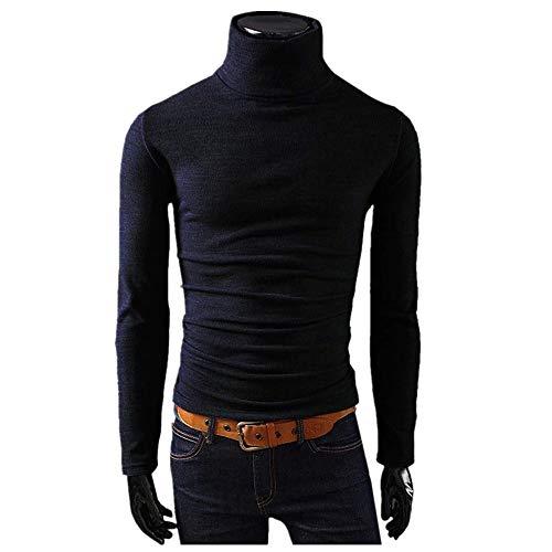 MERICAL Mantel Herren Langarm Top Skivvies Warme Bluse mit Stehkragen(Large,schwarz)