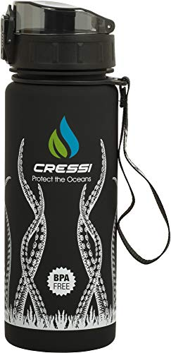 Cressi Water Bottle H20 Frosted, Borraccia Sportiva Unisex, Nero Octopus, 600 ml