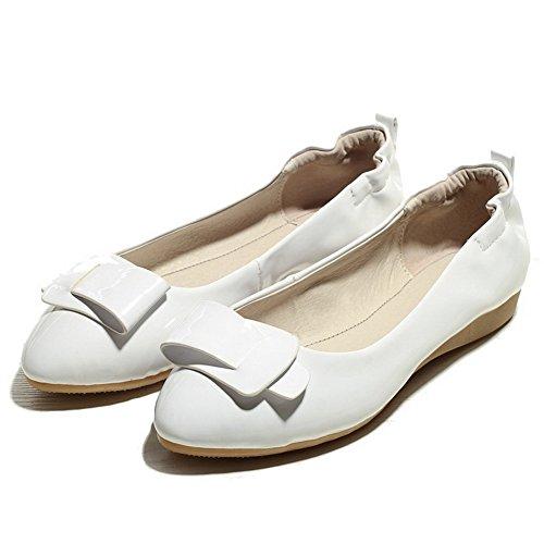 AgooLar Femme Couleur Unie Matière Souple Tire Pointu Chaussures à Plat Blanc