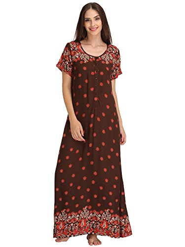 Clovia Women Printed Long Nighty