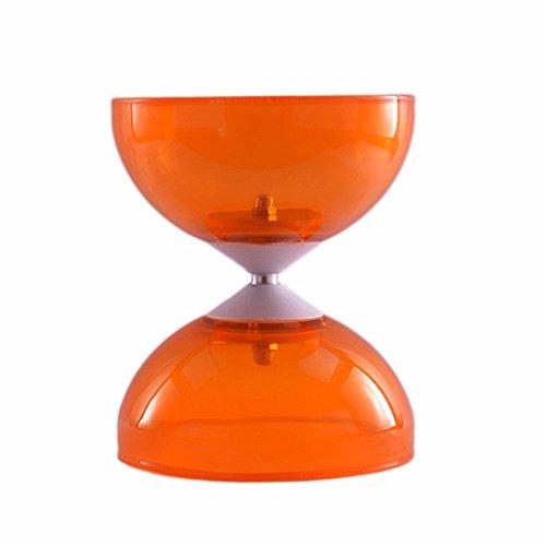 DiaboloX 110mm Orange mit fester Achse und Aluminium Kontrollstäbe mit Slide Schnur. Diabolo ab 8 Jahren geeignet.