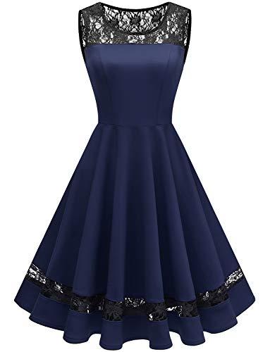 (GardenWed Damen 1950er Elegant Spitzenkleid Ärmellos Cocktailkleid Knielang Rockabilly Kleid Partykleider Abendkleider Navy XL)
