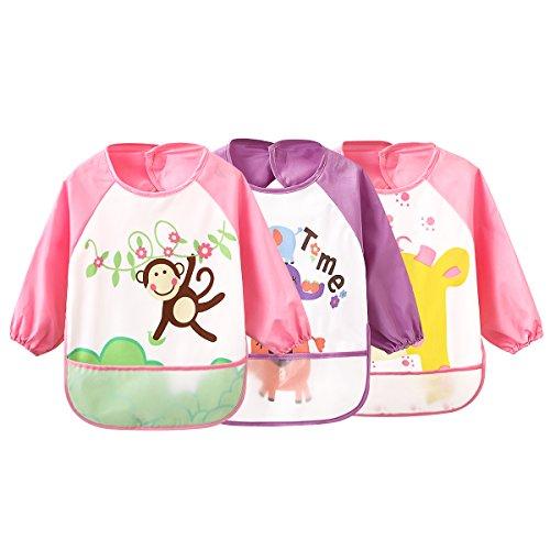 Ärmel-Lätzchen Waterproof Bib Babylätzchen für Kinder von 0-3 Jahren (3 pink set)