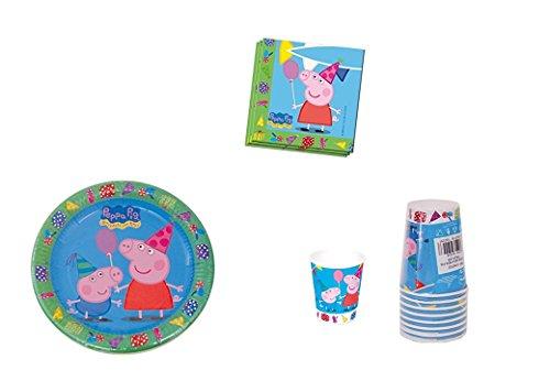 ALMACENESADAN 0493, Pack Desechables Peppa Pig para Fiestas y cumpleaños; 8 Platos 23 cm, 8 Vasos, 20 servilletas