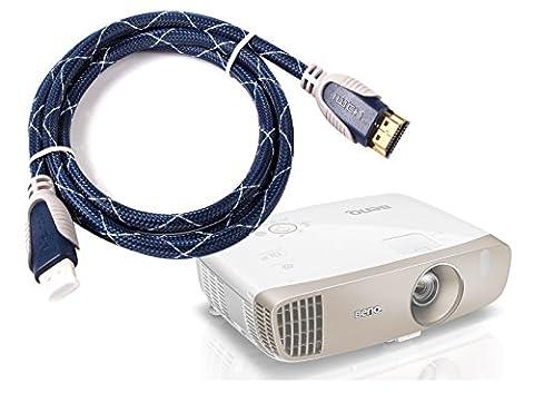 Câble HDMI DURAGADGET pour vidéo-projecteur BenQ W2000, W1070 et W1070+, W1080ST, W1110S et BenQ TH670 - haute qualité 1,8 mètre