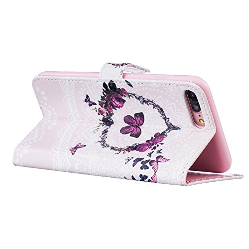 Schutzhülle für iPhone 7 Plus/8 Plus Leder Tasche Lila,BtDuck Slim Flip Cover Lanyard Ledertasche Wallet Case Bunte Muster Patterned Handytasche PU Leder Hülle für Apple iPhone 7 Plus/8 Plus 5,5 Zoll  Relief,lila schmettering