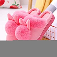 CFHBGK Cartoon Women Home Slippers Rabbit Ears Slip On Soft Soled Winter Warm House Shoes Women Indoor Outdoor Fur Slippers Footwear