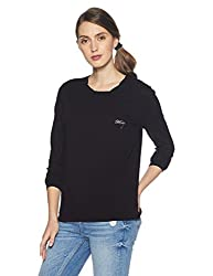 Tommy Hilfiger Womens Printed T-Shirt (A7AJK185_Black Beauty_S)