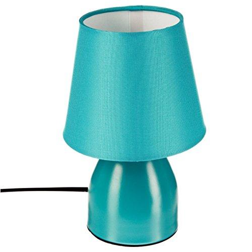 Lampe de chevet pied en métal Bleu turquoise
