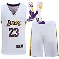 HDJX Lebron James, Los Angeles Lakers, 23, Deportes Jersey, Uniforme de Baloncesto para Adultos, Unisex sin Mangas de la formación Deportiva, con Calcetines White-S