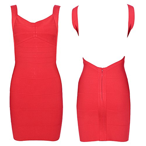 HLBandage Women's Sexy Spaghetti Strap Backless Bodycon Bandage Dress Rouge