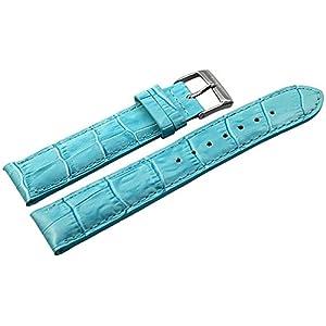 Akzent Leder Uhrenarmband Uhrenband Uhrband Ersatzband Armband hellblau 865035350220 Stegbreite 20 mm
