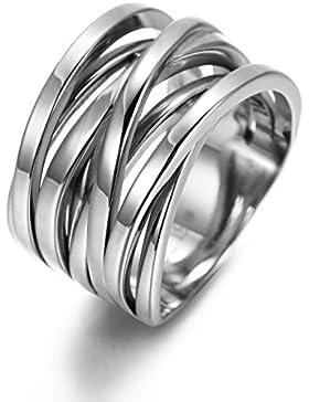 Wistic jewelry Damen Ring aus Edelstahl Vergoldet 4 Größe 54 57 60 63