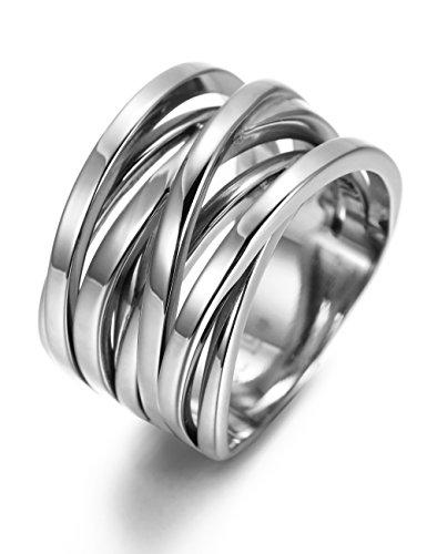 Acciaio inossidabile anello donna anelli banda tono argento regalo(gialla rosa bianca) (argento, 19.5)