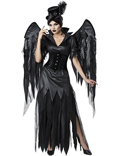 Schwarze Krähe Gothic Hexe Kostüm mit Flügeln - Medium